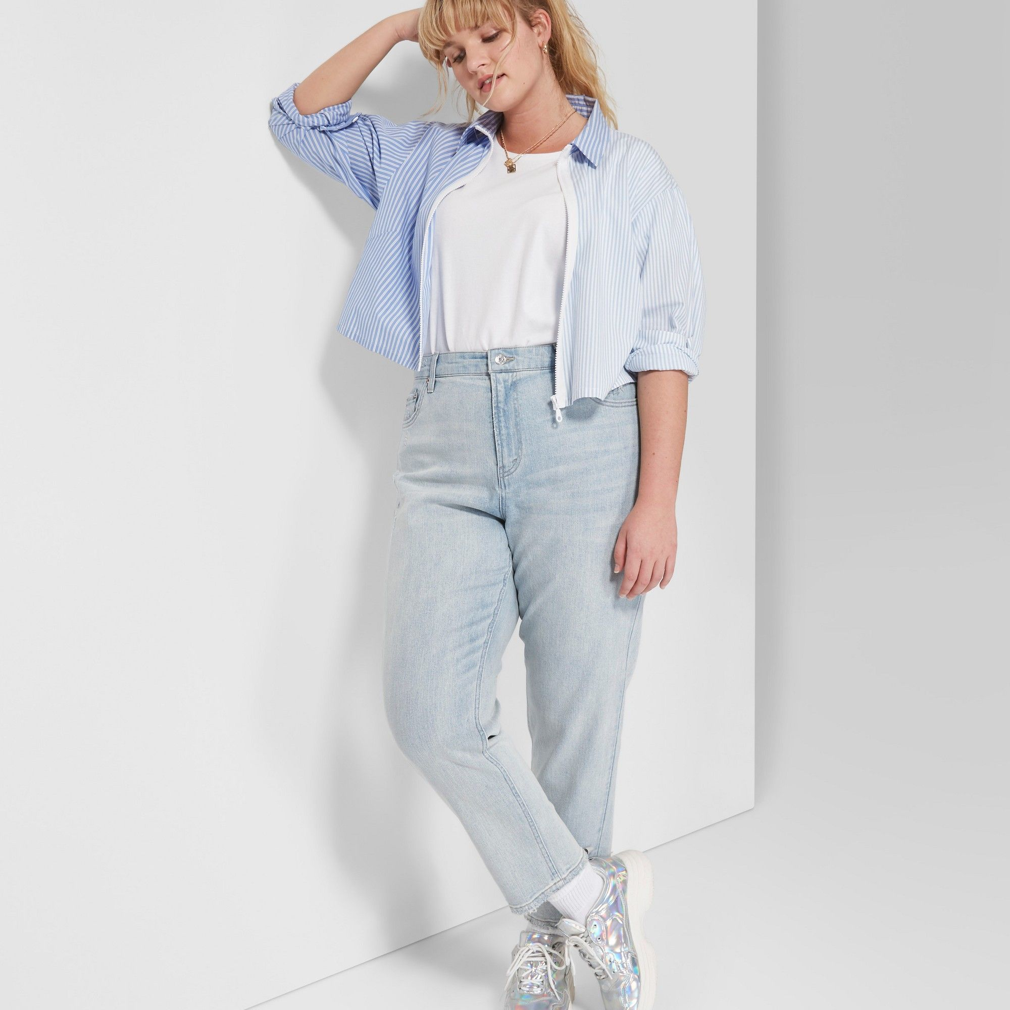 3083a165c1 Women's Plus Size High-Rise Mom Jeans - Wild Fable Light Blue Wash 14W