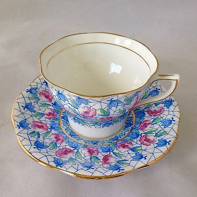Rosina Bone China Cup Saucer England English Blue Pink Lovely