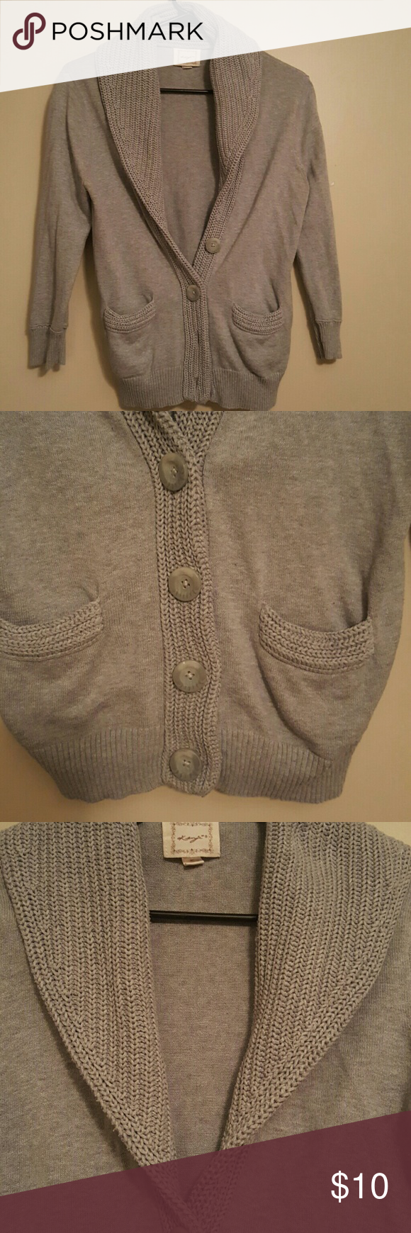 Kenji sweater 3/4 length sweater with 4 button detail and two front pockets.  Accented in knitted gray on pockets, buttons, and collar. kenji Sweaters Cardigans