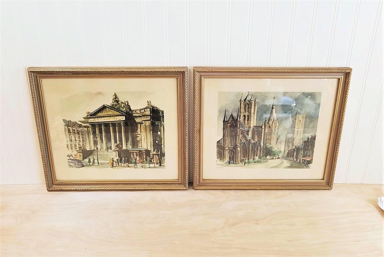 Framed Mid Century Art Framed Watercolor Prints Reinier Wynard ...