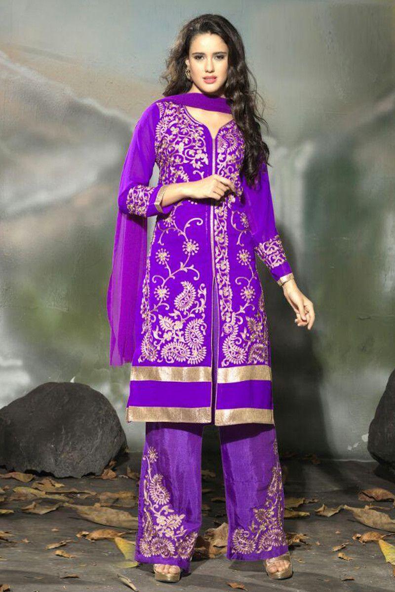Beautiful Purple Semi Stitched Party Wear Salwar Kameez EBSFSK15504G ...
