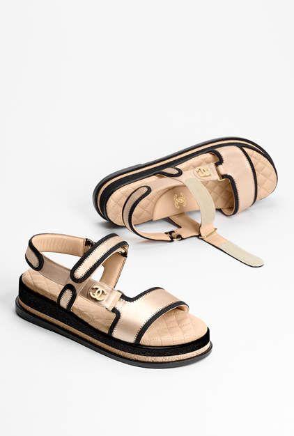 Sandals, satin-beige - CHANEL | Chanel
