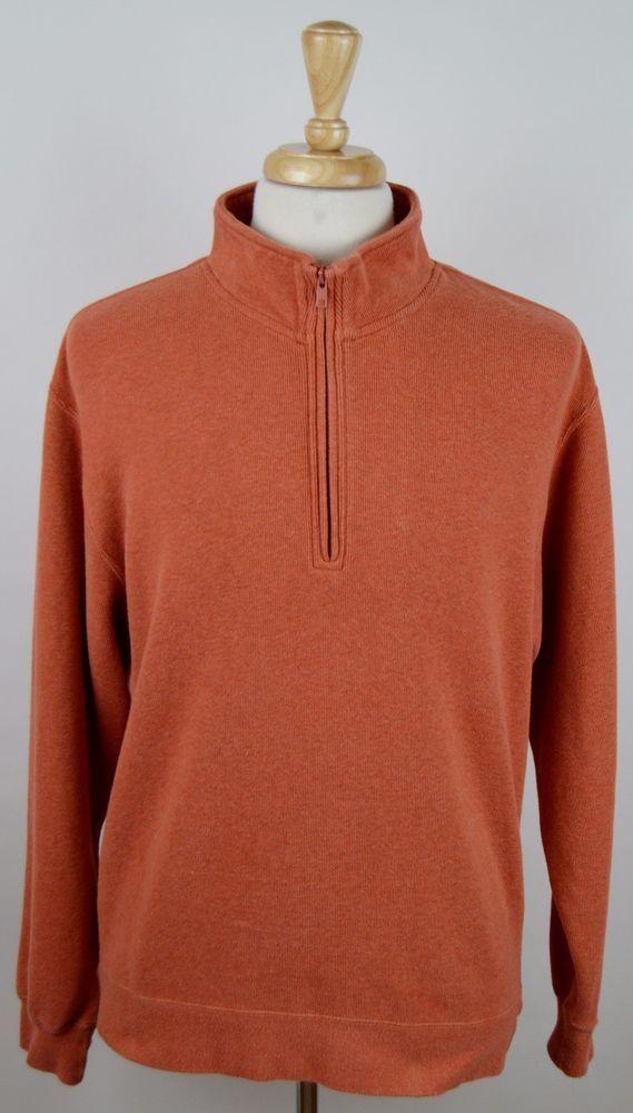 Mens Orvis Burnt Orange Long Sleeve 12 Zip Heavy Cotton Pullover