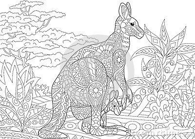 Coloriage Mandala Kangourou.Zentangle A Stylise Le Kangourou Graphisme Loisirs Creatifs Et