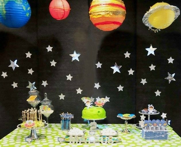 25 alien space themed birthday party ideas decor for Outer space decor ideas
