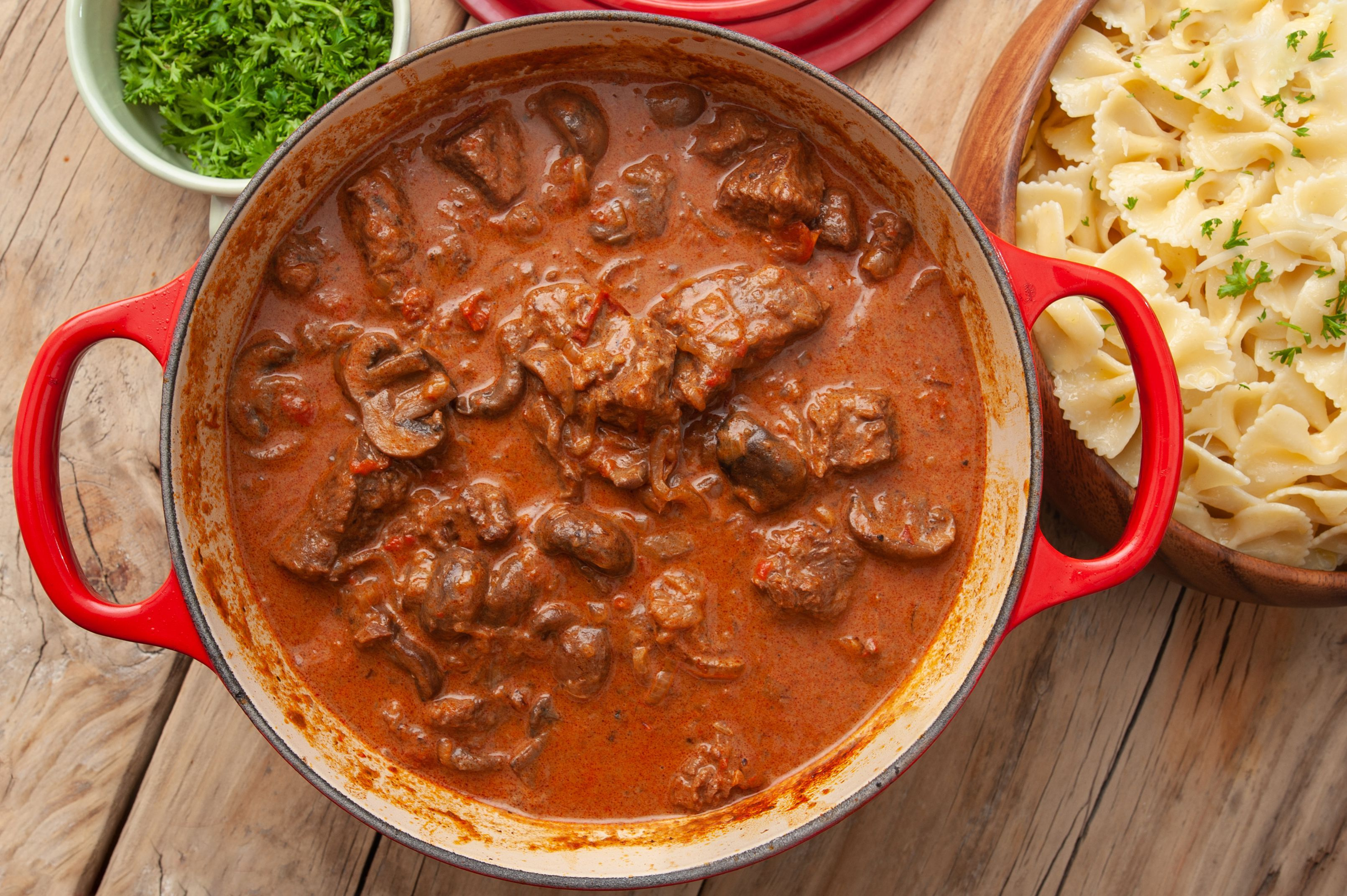 This Easy To Make Traditional Hungarian Beef Dish Is Cooked With Paprika Finished With Sour Cream And Served Over B Goulash Recipes Goulash Hungarian Recipes