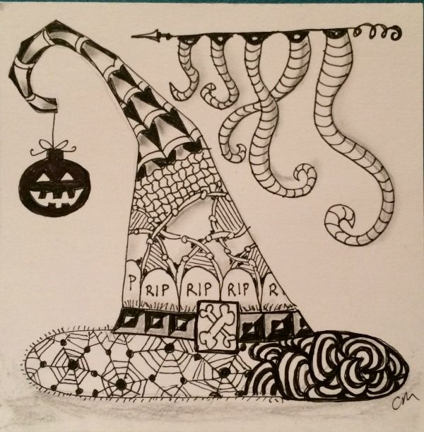 Zentangle Witch Hat Halloween Zentangle Zentangle Patterns Zentangle