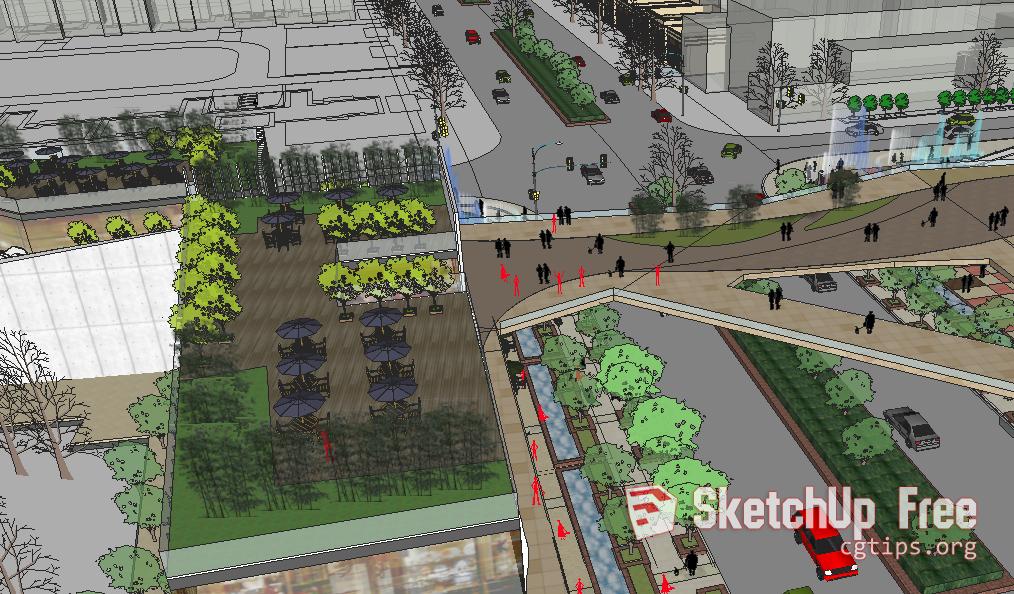 1701 Exterior Beautiful Urban Area Sketchup Model Free