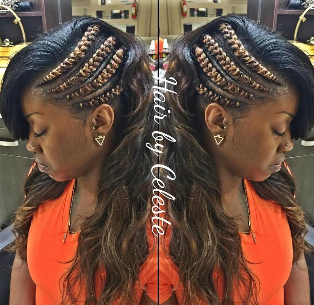 Black asymmetrical braided hairstyle cornrow braid styles
