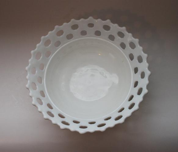 Milk Glass Lace Bowl.
