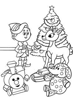 Rudolph With Children In Christmas Day Coloring For Kids