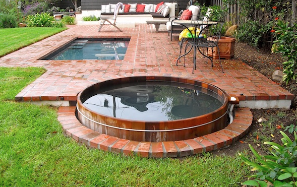 Gordon Grant Hot Tub Built Into Brick We Love This Design Hot Tub Backyard Hot Tub Landscaping Pool Landscaping