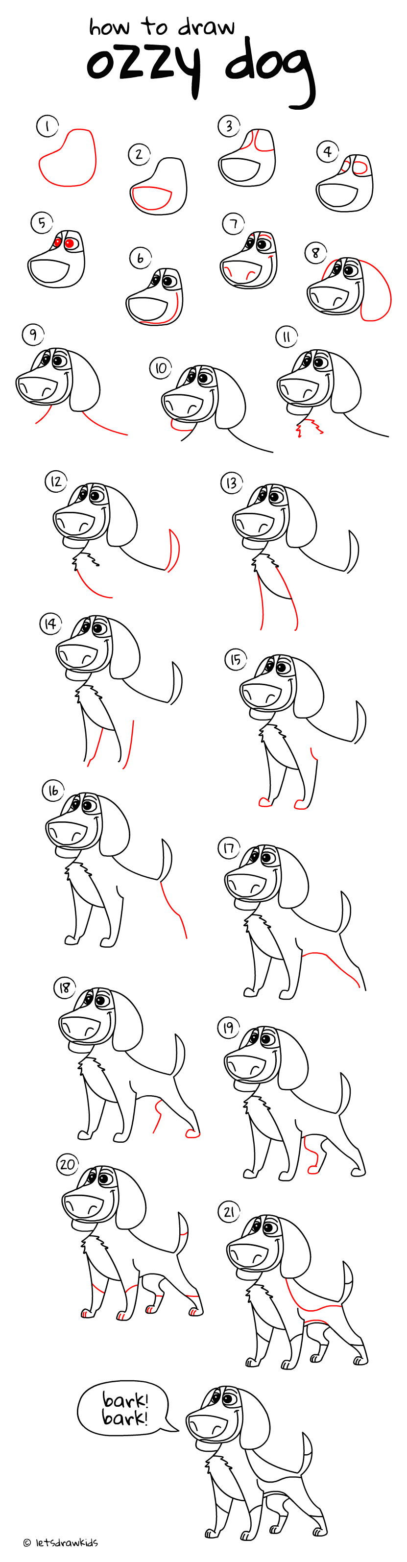 How to draw Ozzy dog. Easy drawing, step by step, perfect for kids! Let's draw kids. http://letsdrawkids.com/