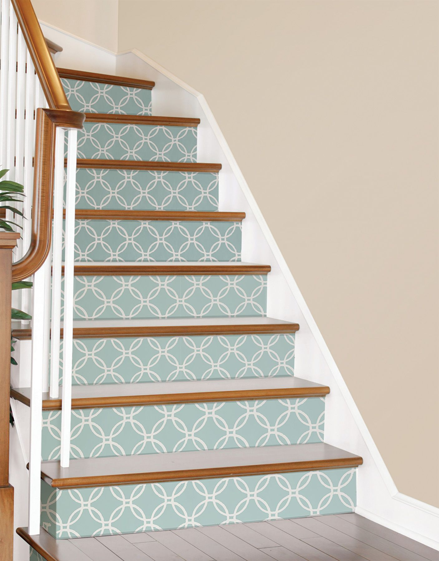 Make Your Stairs Look Pretty Blue Links Peel And Stick Wallpaper By Nuwallpaper Peel And Stick Wallpaper Nuwallpaper Wallpaper Stairs