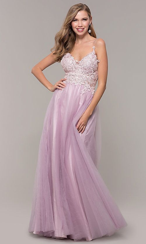 Long Lace-Bodice Prom Dress with Lined Tulle Skirt ...