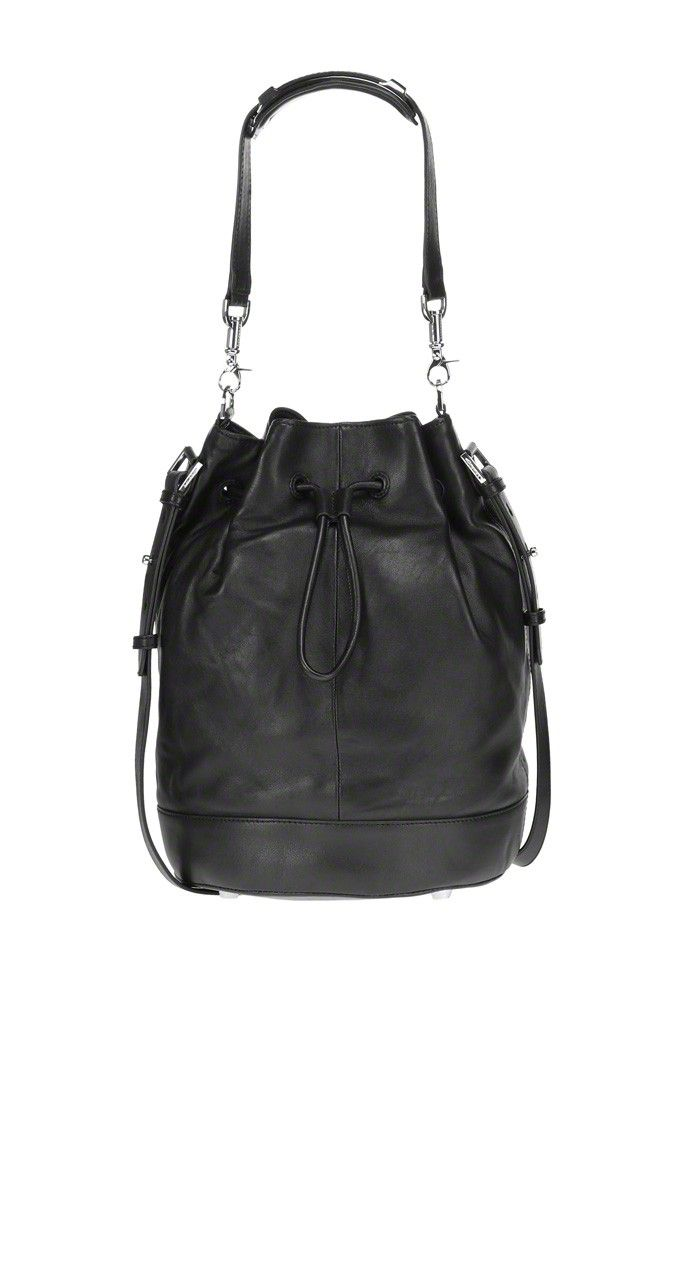 Mackage - MATOS-L BLACK LAMB LEATHER BUCKET BAG. www.mackage.com #luxuryhandbags #leather #womenswear #fw14 #mackage #holiday #gift #ideas #arrowcollection #mackagebag
