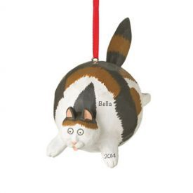CALICO Fat Cat Personalized Christmas Ornament