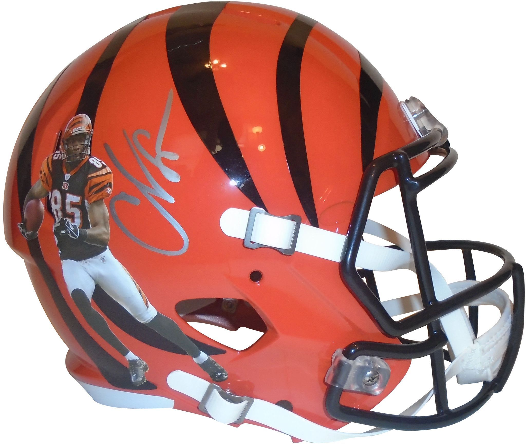 6263ef956 Chad Ocho Cinco Johnson Autographed Cincinnati Bengals Riddell Full Size  Deluxe Replica Speed Style Photo Football Helmet