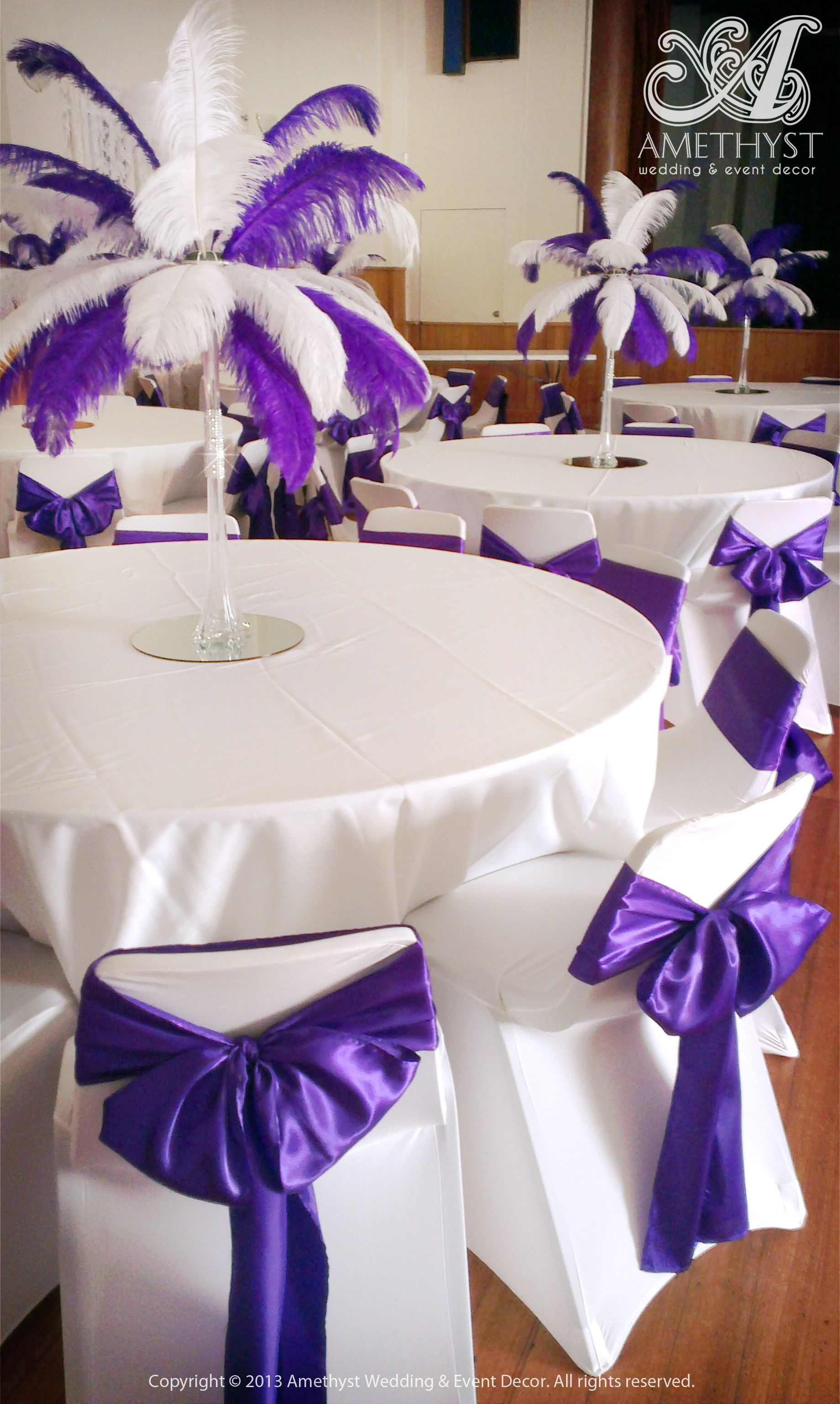 Purple White Theme Linen With Ostrich Feather