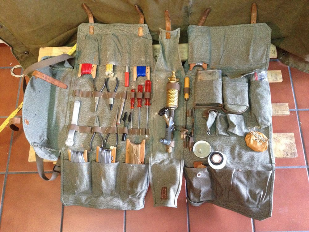 1967 Complete Welder Bag Leather Canvas Tools Vintage