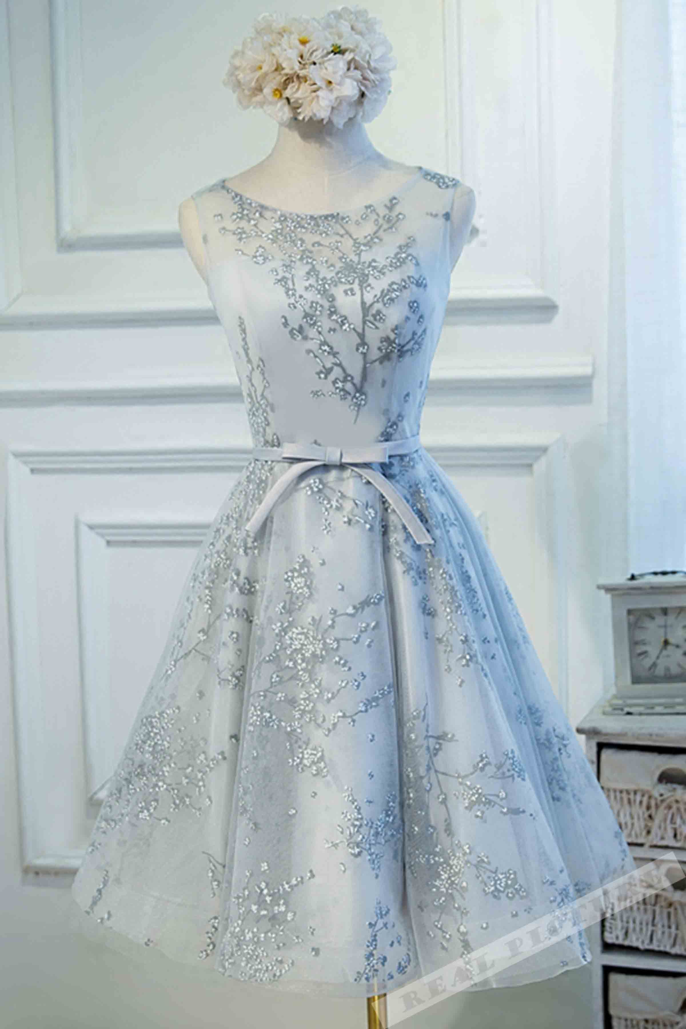 Lace appliqued light blue tulle prom dress ball gowns wedding dress