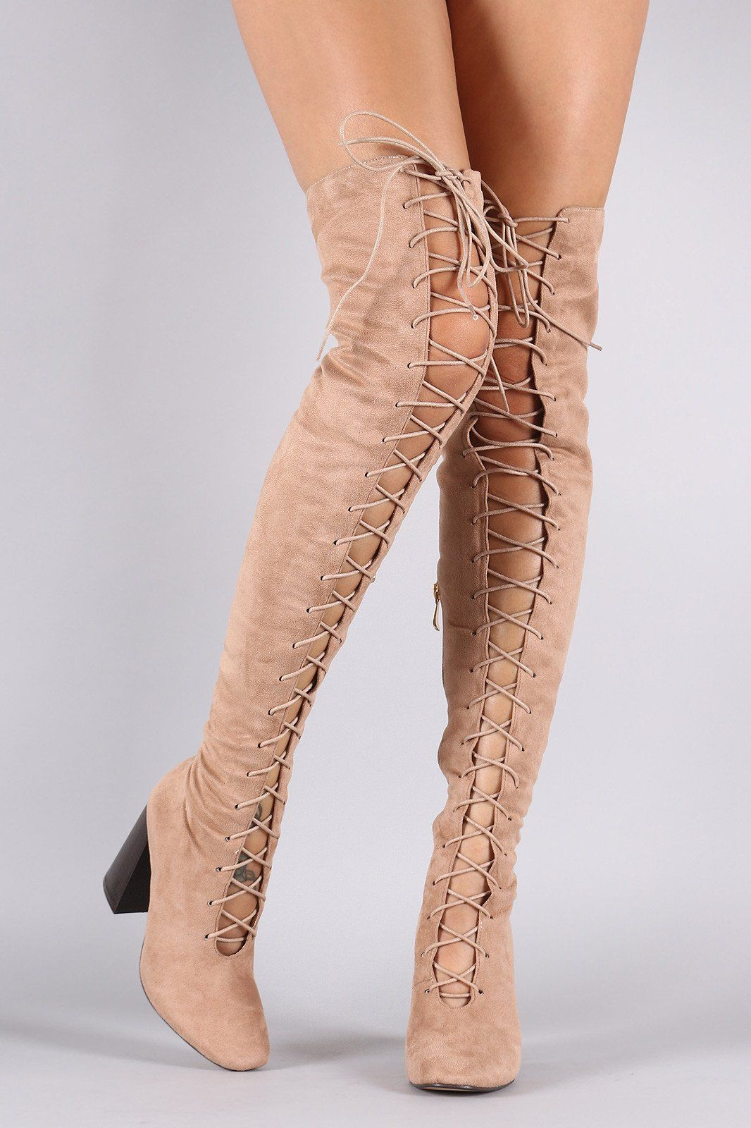 Suede Lace Up Chunky Heeled Over-The-Knee Boots | Designer Boots ...