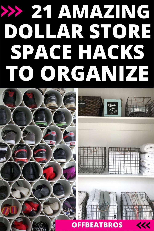 21 Dollar Store Organization Ideas For Small Spaces Dollar Store Organizing Store Organization Closet Organization Diy