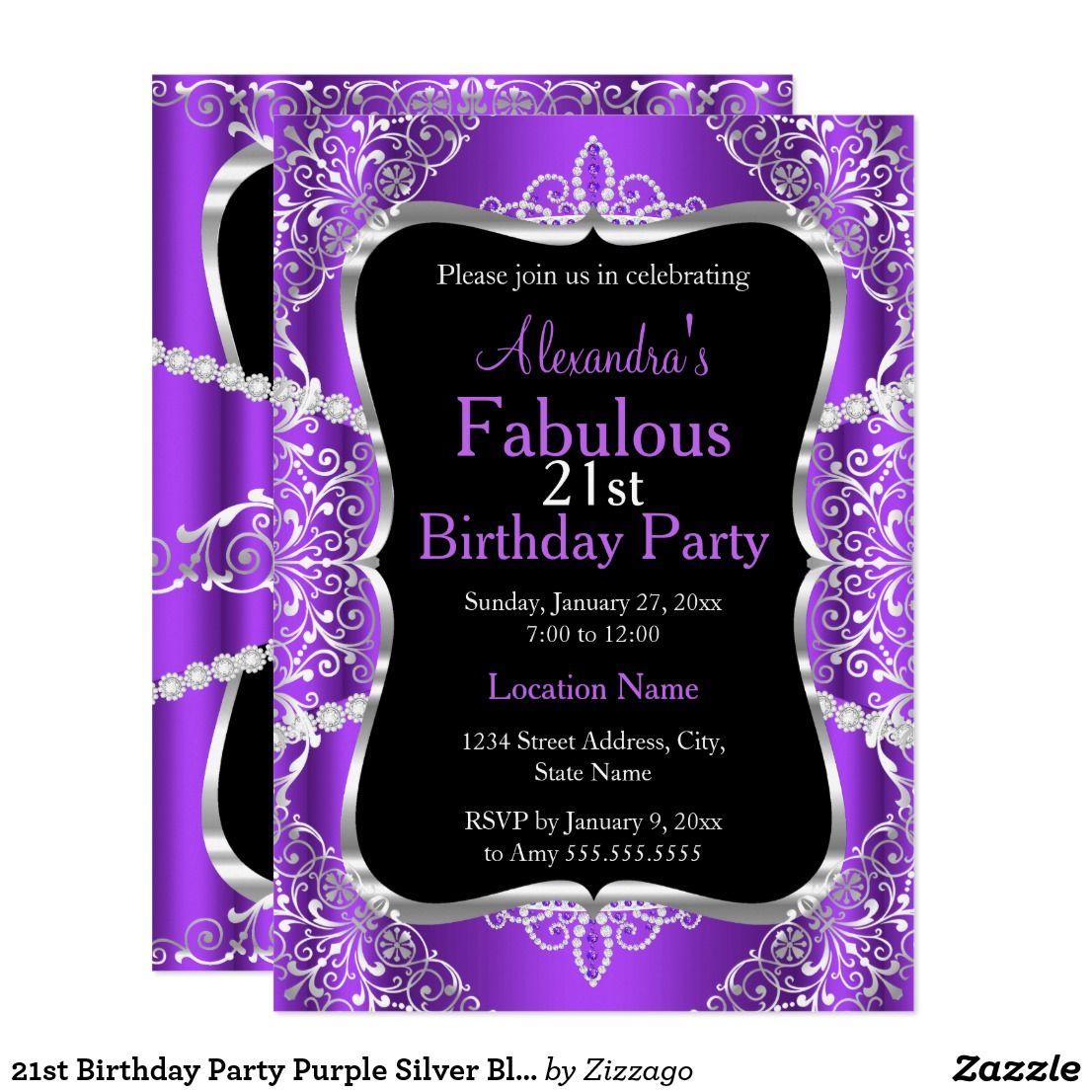 21st Birthday Party Purple Silver Black Invitation | 21st birthday ...