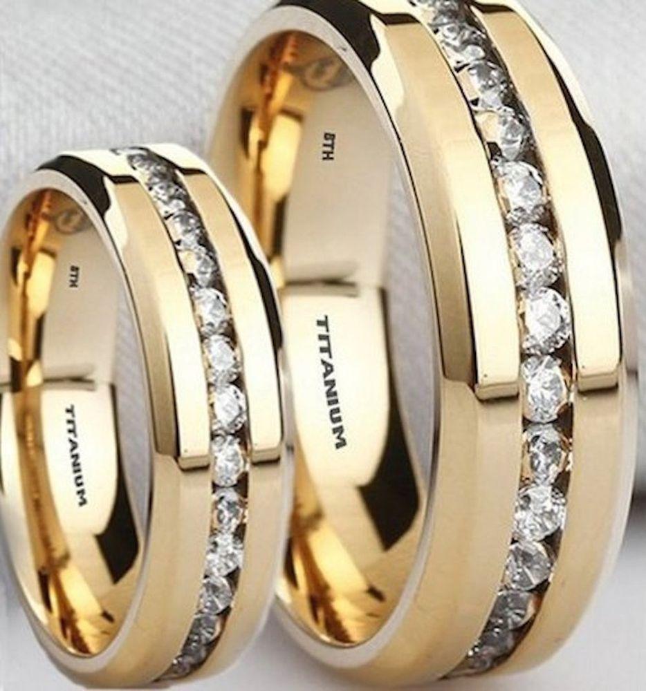 New His And Hers Created Diamonds Titanium Gold Gp Wedding