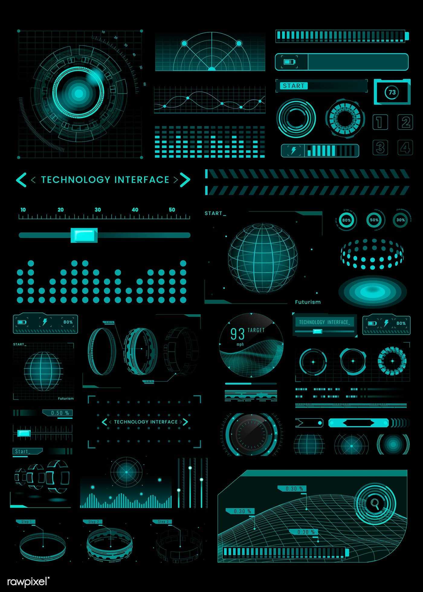 Download premium vector of Technology interface template