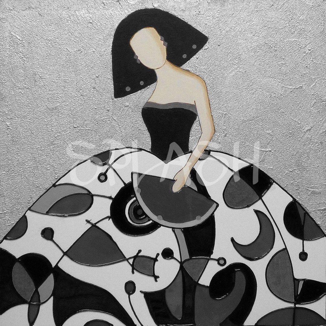 Menina moderna en plata blanco y negro 1 sp797 meninas for Azulejo a cuadros blanco y negro barato