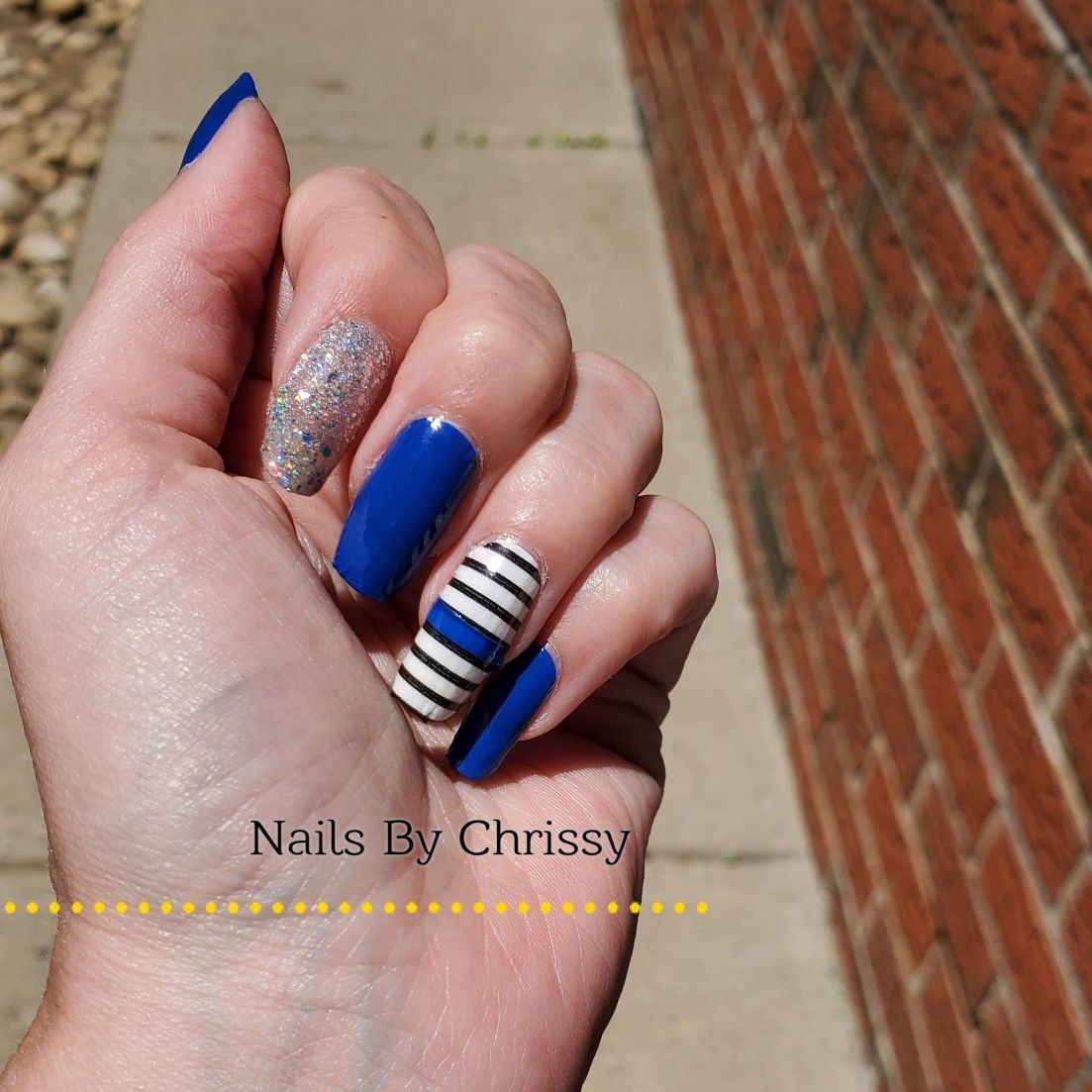 Back The Blue Nails Color Street Greeking Out Swiss And Tell Between The Lines Shangri La In 2020 Blue Nail Color Nail Colors Blue Nails