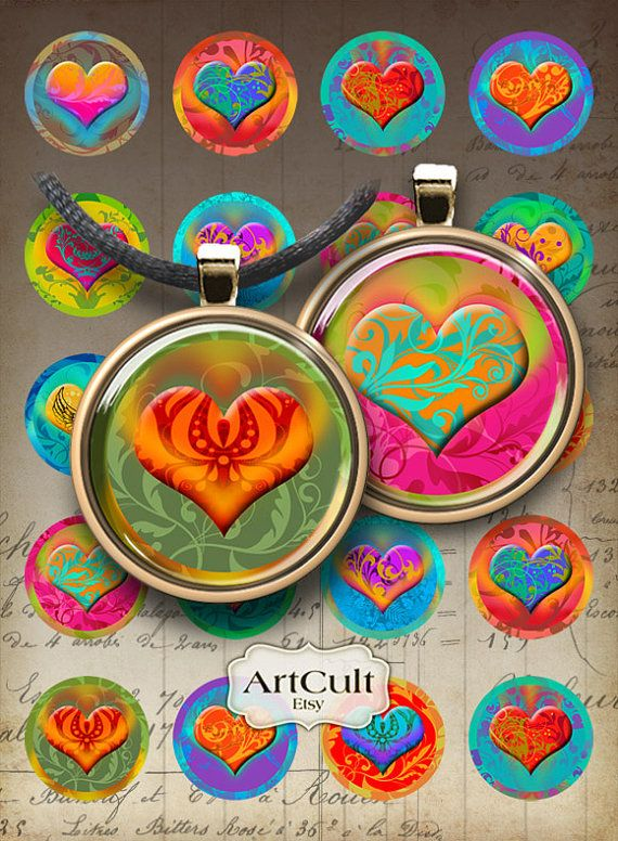 HEART CIRCLES - Digital Collage Sheet 1 inch and 1.5 inch size Printable Images for pendants, bottle caps, paper craft, bezel settings