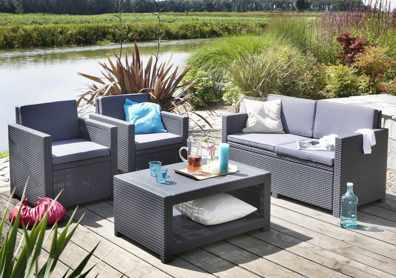 Amazon.de: Koll Living Lounge Set Korsika in anthrazit, inkl ...