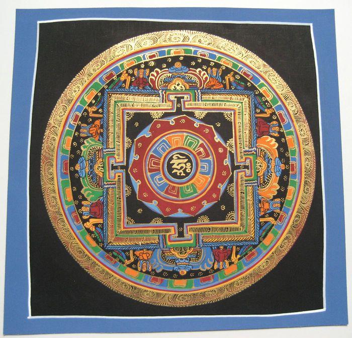 Currently at the #Catawiki auctions: Original Mantra/Kalachakra mandala thangka painting, signed - Nepal - Contemp...