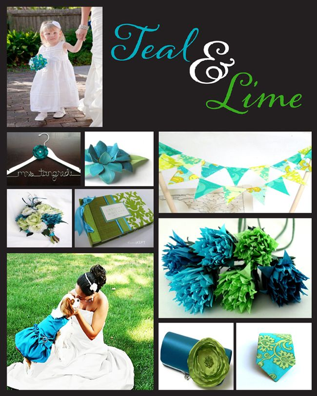 teal, green and yellow wedding colors | Teal, lime green and white ...