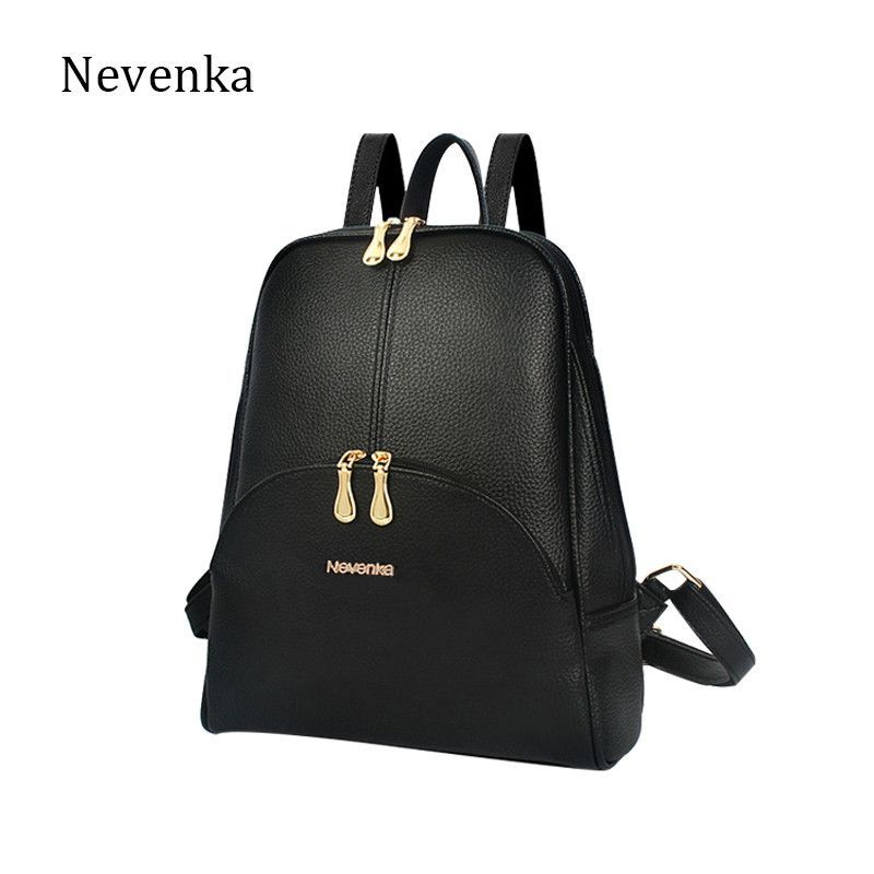 5dd8b40d0307 Nevenka Brand Women Bag Preppy Backpack Leather Student Zipper Bags Solid  Pendants Preppy Sac Casual Backpacks Teenagers Mochila