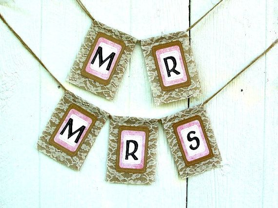 MR and MRS Burlap and Lace Chair Banner SET by LazyCaterpillar