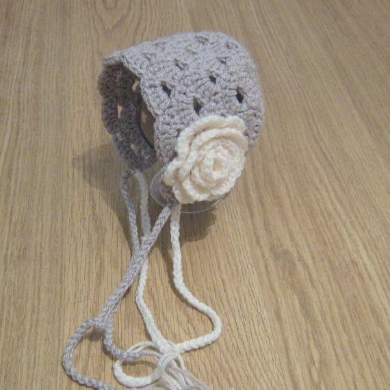 Cute VINTAGE looking Crochet Baby Lacy Patterned PIXIE BONNET hat ...