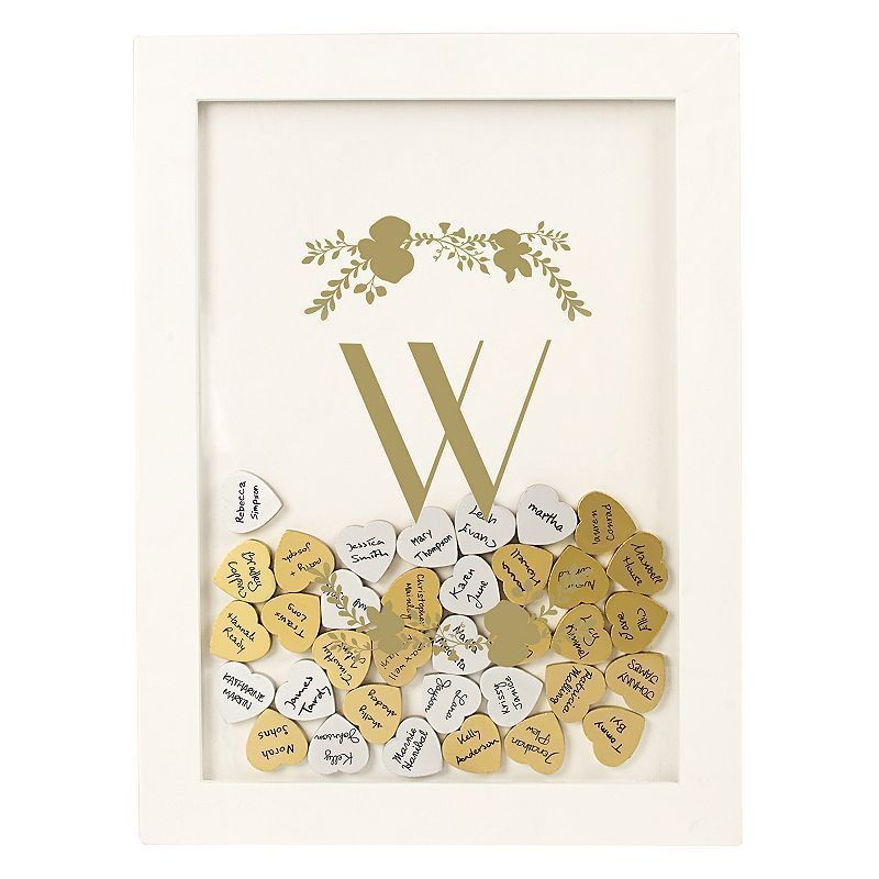 Cathy's Concepts Gold Finish Monogram Shadowbox Heart Drop