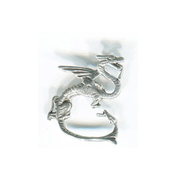 AWESOME Sinuous Dragon Pendant Silver Fantasy by TheStitchingGypsy