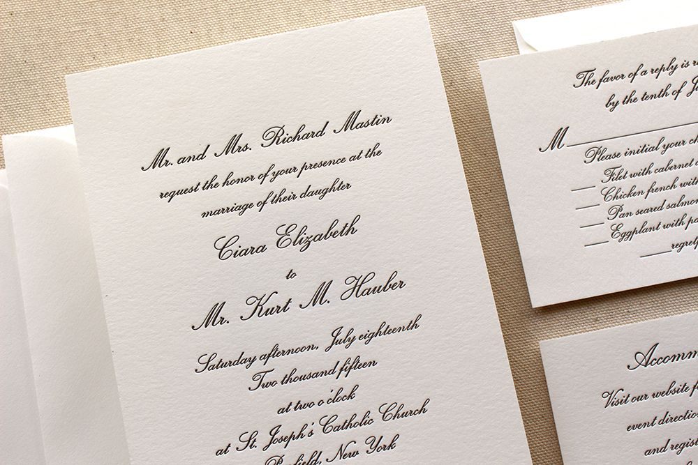 The Conservatory Suite - Formal Letterpress Wedding Invitation Suite ...