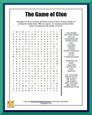 The Game Of Clue Word Search Word Puzzle Hound Word Seach Annette Funicello Mystery Word