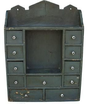 Late 19th Century New England Hanging Spice Cabinet With Dark Worn Pewter  Gray Paint, 213