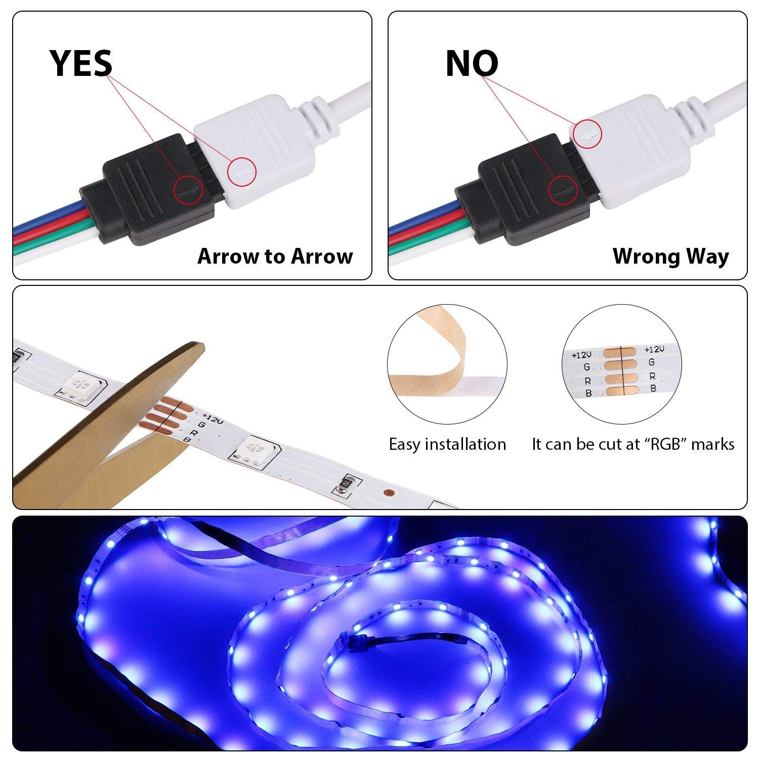 Relohas Led Strip Light 16 4ft Waterproof Led Flexible Light 150 Units Smd 5050 Leds 12v Dc Rgb Led Strip Led Strip Lighting Strip Lighting Works With Alexa