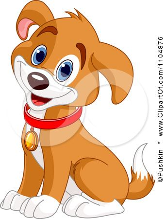 Clipart Happy Cute Beagle Puppy Dog Sitting And Wearing A Collar
