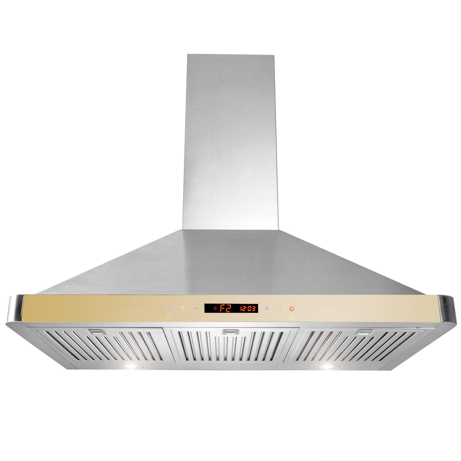 Akdy 36-inch Wall Mount Kitchen Cooking Fan Vent LED Touch Control Screen Range Hood w/ Removable Baffle Filters