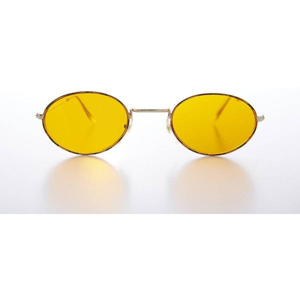 c2aa7935d1 Oval Yellow Lens Blue Blocker Hippy Vintage Sunglass Mellow ( 21) ❤ liked  on Polyvore featuring accessories