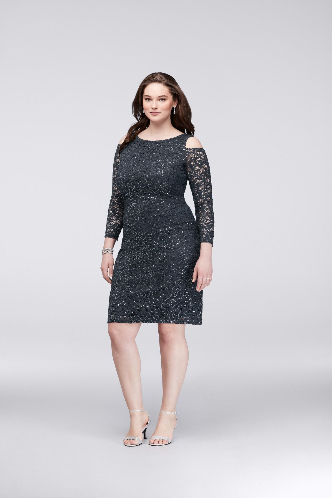 270eb5b9f07 Cold-Shoulder Lace Plus Size Cocktail Mother of the Bride Dress available  at David s Bridal