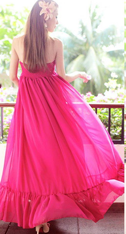 Chiffon High Waist Halter Neck Strapless Long Maxi Dress ...
